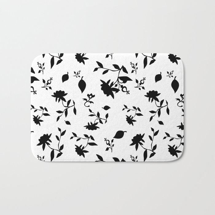 Black and white floral pattern . Bath Mat