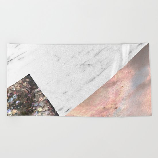 Marble with sequins and mother of pearl Beach Towel