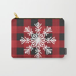 Happy Winter Snowflake Merry Christmas/ Xmas With Buffalo Check Carry-All Pouch