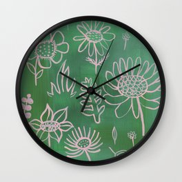 Pink Nature on Green Wall Clock