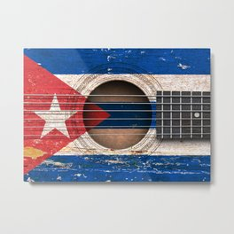Old Vintage Acoustic Guitar with Cuban Flag Metal Print