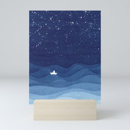 blue ocean waves, sailboat ocean stars Mini Art Print
