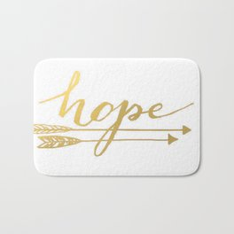 Gold Quote Hope Brushstroke Watercolor Ink Typography Classic Calligraphy Peace Bath Mat