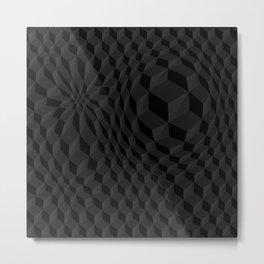 Deep Black Graphic Geometric Poly Pattern Metal Print