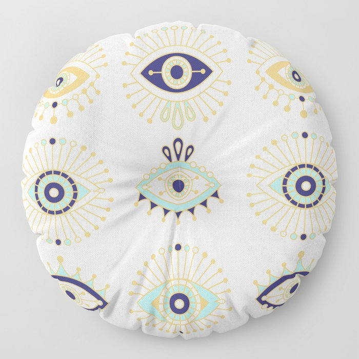 Evil Eye Collection on White Floor Pillow