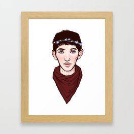 Merlin Flowercrown Framed Art Print