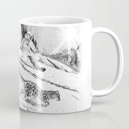 Snowboarder and snow leopard down the slope Coffee Mug