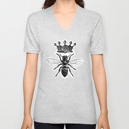 Queen Bee   Vintage Bee with Crown   Black and White   Unisex V-Neck