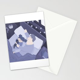 Baby girl sleeping with her dad Stationery Cards