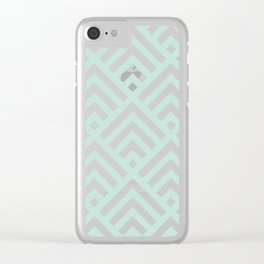 Turquoise Blue geometric art deco diamond pattern Clear iPhone Case
