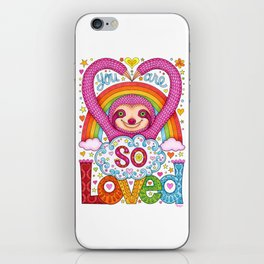 You are so loved - Cute Rainbow Sloth - Art by Thaneeya McArdle iPhone Skin