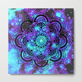 Mandala : Bright Violet & Teal Galaxy 2 Metal Print