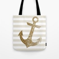 gold glitter Tote Bags featuring GLITTER ANCHOR IN GOLD by colorstudio