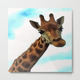Hello up there! Fun Giraffe With Nerdy Expression Metal Print