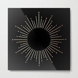 Sunburst Gold Copper Bronze on Black Metal Print