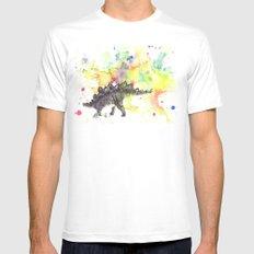 Stegosaurus Dinosaur in Splash of Color SMALL White Mens Fitted Tee