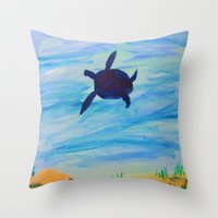 sea turtle Throw Pillows featuring Turtle by Lissasdesigns