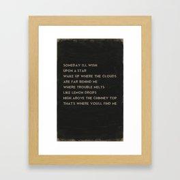 Somewhere Over the Rainbow Song Lyric Art Framed Art Print