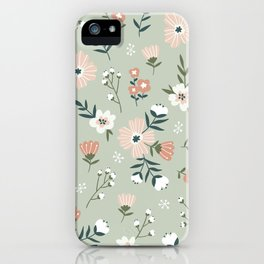 Seamless Pink Salmon Flower Pattern Pastel Green Background Mystical Pastel Colors iPhone Case