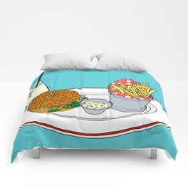 Burger, Chips and Lemonade Comforters