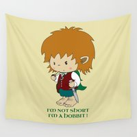 hobbit Wall Tapestries featuring I'm not short, I'm a hobbit by mangulica illustrations