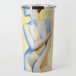 Nude Woman Before Yellow Background Travel Mug