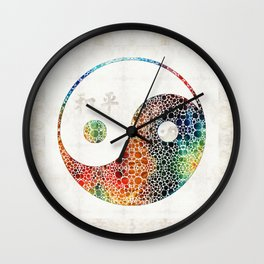 Yin And Yang - Colorful Peace - By Sharon Cummings Wall Clock