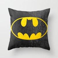 bat man Throw Pillows featuring Bat man by S.Levis