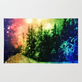 Galaxy Forest Rainbow Snow Rug