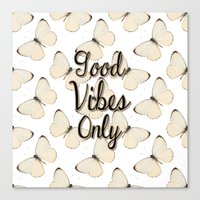 good vibes Canvas Prints featuring Vibes by Bananarific