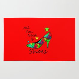 All You Need Is Shoes Red - Fashion Typography Rug