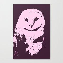 Barn Owl Tyto Alba Purple/Pink Canvas Print
