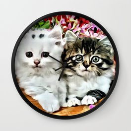 TWO CUDDLY KITTENS Wall Clock