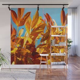 Autumn colors leaves against the blue sky #decor #society6 #buyart Wall Mural
