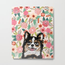 Chihuahua florals flowers spring blooming garden pet portraits dog breed custom gifts for dog person Metal Print