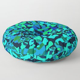Intersecting delicate on colored spots and splashes of dark blue paints. Floor Pillow