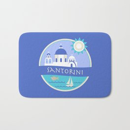 Santorini Greece Badge Bath Mat