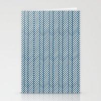 herringbone Stationery Cards featuring Herringbone Navy by Project M