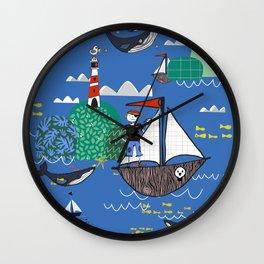 Pirates Ahoy Blue Wall Clock