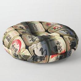 Japanese Sake Barrels Floor Pillow