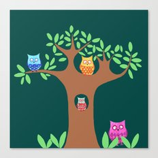 Owls in a tree Canvas Print