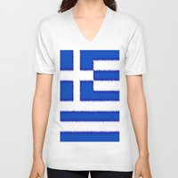 greek V-neck T-shirts featuring Greek flag by Created by Eleni