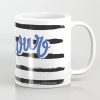 bonjour Mugs featuring Bonjour! by magicmaia