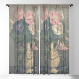 Vase of Morning Glories Sheer Curtain