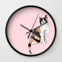 Cat Portrait Calico in Pink Wall Clock