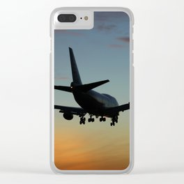 747 Sunset Landing Clear iPhone Case