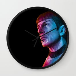 "Homage to Leonard Nimoy - Mr. Spock ""Star Trek"" (colored version) Wall Clock"