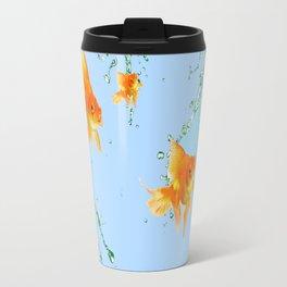 GOLDFISH AQUARIUM SPLASHING  WATER ART Travel Mug