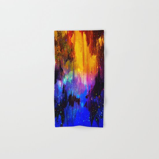 CASTLES IN THE MIST Magical Abstract Acrylic Painting Mixed Media Fantasy Cosmic Colorful Galaxy  Hand & Bath Towel