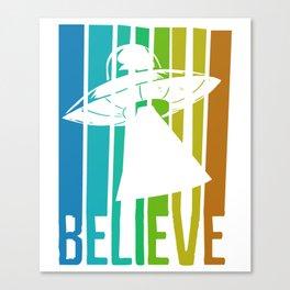 Believe UFO Alien Canvas Print
